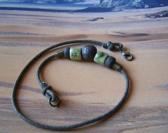 """Ceramic bracelet double cord """"Earth and jewelry"""""""
