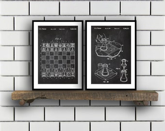 Chess Prints - Set of 2 - Chess Patent, Chess Poster, Chess Blueprint, Chess Print, Chess Art, Chess Decor