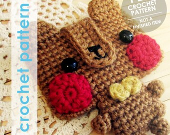 wallet crochet pattern, bear with bowtie, crochet wallet, amigurumi bear credit card wallet mini wallet, crochet mini wallet, amigurumi