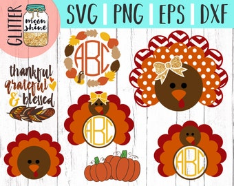 Thanksgiving Turkey Designs Bundle svg dxf eps png Files for Cutting Machines Cameo Cricut, Cute, Girl, Boy, Fall, Toddler svg, Baby, Autumn