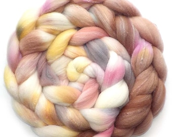 Roving Targhee Bamboo Silk, Handdyed Combed Top, Pressed Flowers, 5.1 oz.