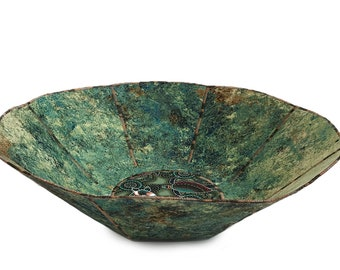 Large Fabric Bowl - Greens and Earth Tones Grunge and Center Circle Australian Pattern Turtles
