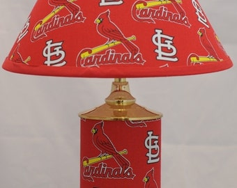 Bat lamp shade etsy baseball mlb st louis cardinals 12 brass plated lamp and matching lamp shade mozeypictures Choice Image