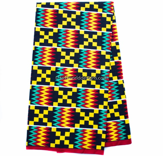 super african kente print fabric per yard red teal wedding rh etsy com kente cloth border clip art kente cloth border clip art