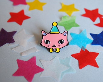 Pink Party Cat enamel lapel pin - Cat pin - Enamel pin - Enamel cat pin - I like cats - Cat lapel pin - Cat jewellery - Cat gifts - Cats
