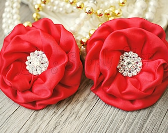 """2pcs Red 3"""" Matte Satin Flowers -Layered Fabric Flowers - Embellished Flowers - Large Satin Fabric Flowers - Hair accessories"""