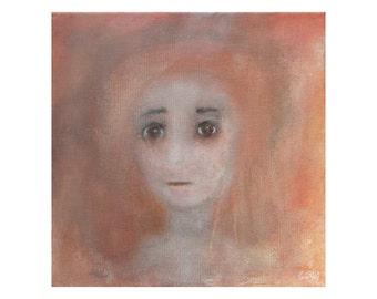 original Woman portrait painting unique fine art Face Figure Small female Brown beige Modern Canvas Artwork Wall art Gift for women men her