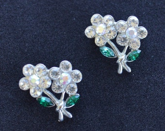Pretty Vintage Rhinestone Floral Scatter Pin, Aurora Borealis, Green, Silver tone, (2)  (Y4)