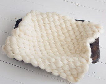 SOFTEST MARSHMALLOW blanket 100% woolblanket prop, layering blanket,  bumpy blanket, photography props, newborn props, photo pr