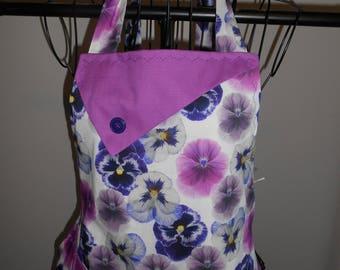 Purple Pansies - Women's Apron - Ruffle - Pocket - Flowers - Garden