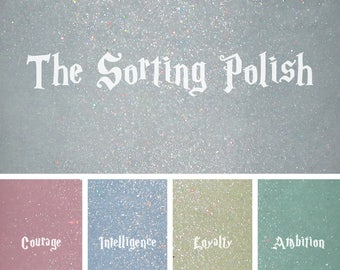 The Sorting Polish--Gray holographic lacquer changes color in sunlight and glows-in-the-dark in your house colors