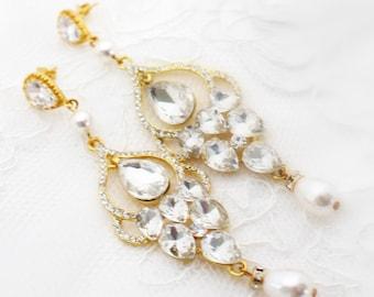 Gold Chandelier Earrings, Gold Bridal Earrings, Gold Wedding Earring, Long Bridal Chandelier Earring, Pearl Bridal Earring, Pearl Chandelier