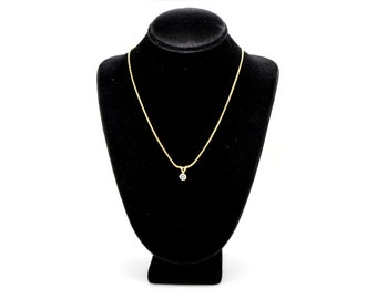 14k Yellow Gold Round Diamond Solitaire Pendant Necklace - .30 ct. - 16 in.