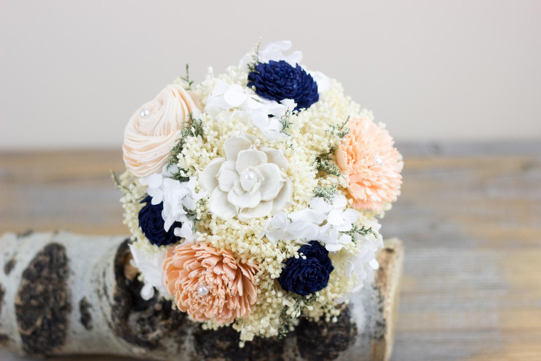 Peach navy bridesmaids bouquet sola flower bouquet zoom izmirmasajfo Image collections
