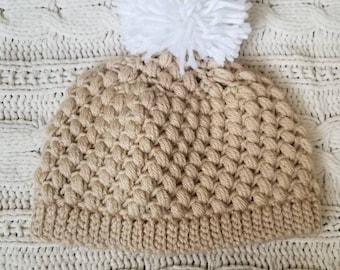 0-6 Month Crochet Baby Beanie Hat With Pom Pom