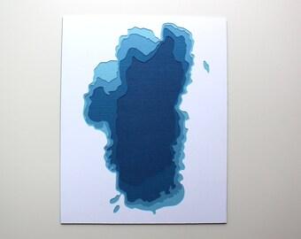 Lake Tahoe - original 8 x 10 papercut art