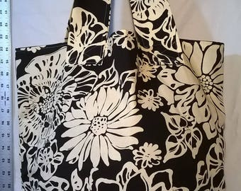 Black and White Floral Tote with Burlap Bottom