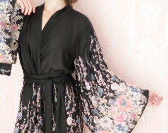 """The secret garden. One readymade """"Noguchi"""" kimono robe in an exquisitely soft rayon fabric. Super soft rayon robe. US size 4-6"""