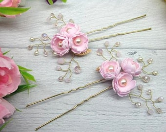 Set for wedding Set for bridal Set for flower girl Wedding hair pins Pink for flower girl Flower hair pins Pink hair pins Bridal pins