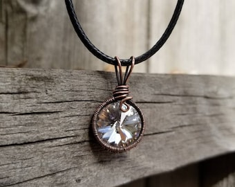 Swarovski Crystal Wrapped in Antiqued Copper