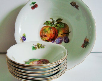 German fruit serving bowl and 6 side dishes