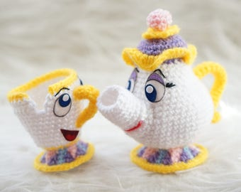 Pack 2 in 1 Mrs Potts and Chip Beauty and the Beast Amigurumi Pattern Disney Movie Baby Mug Teapot Easy DIY PDF Crochet Tutorial