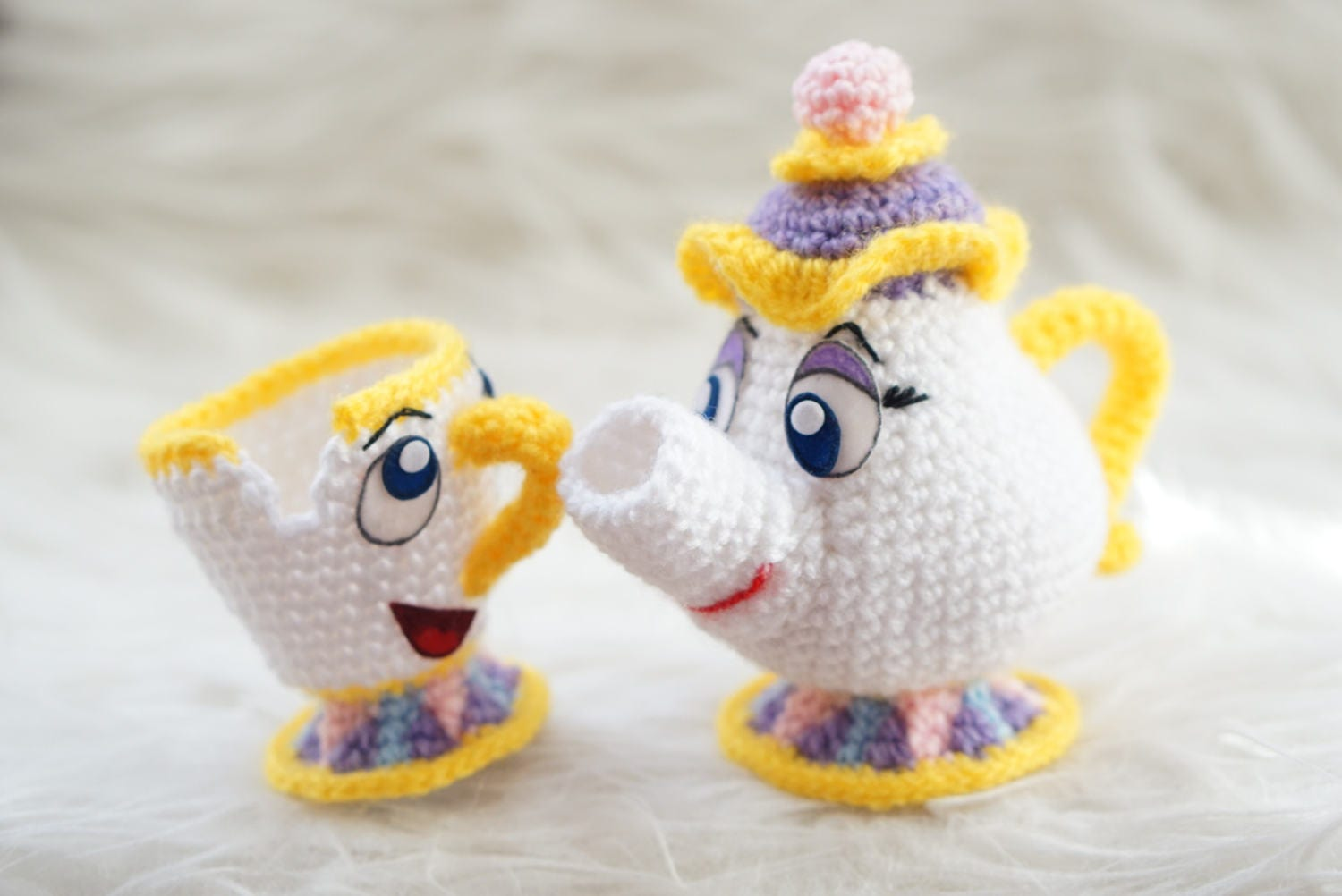 Amigurumi Patterns Disney : Pack in mrs potts and chip beauty and the beast amigurumi