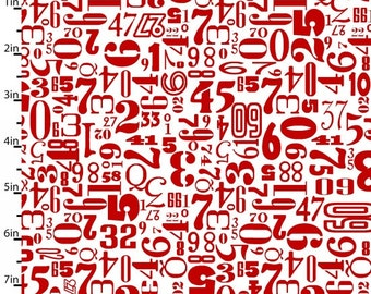 Number Fabric, Rush hour, Red Tossed Numbers, Fabric with Numbers, by Studio E, 2775-08