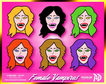 Halloween female vampire girls clipart vector funny evil autumn pink holiday