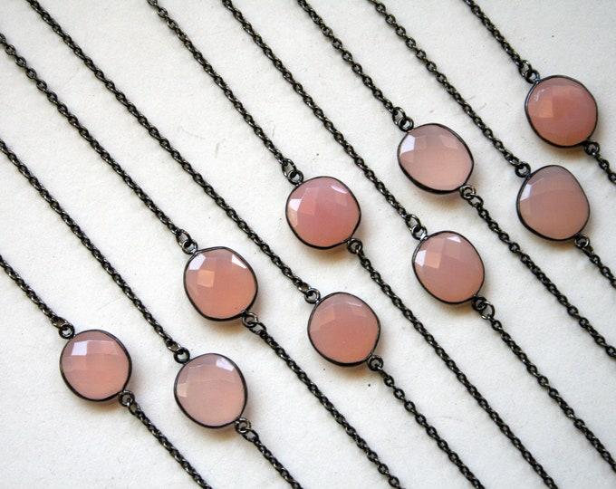 Petite Rose Quartz Gunmetal Necklace // Minimal Rose Quartz Layering Necklace