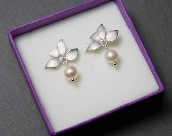 Silver Orchid Studs, Flower stud earrings, Silver pearl earrings, Orchid earrings, stud earrings, bridal earrings, wedding jewellery.