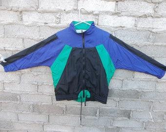 Vintage Bomber Jacket Color Block 1990s 1980s 90s 80s Fresh Prince Iridescent Purple Green Black Windbreaker Track  Small Oversized Rave EDM