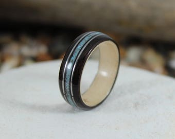 Ebony & Maple Wood Ring with Turquoise and Guitar Strings. Wood Ring, Men's Wood Ring, Women's Wood Ring, Wood Wedding Ring, Bent Wood Ring