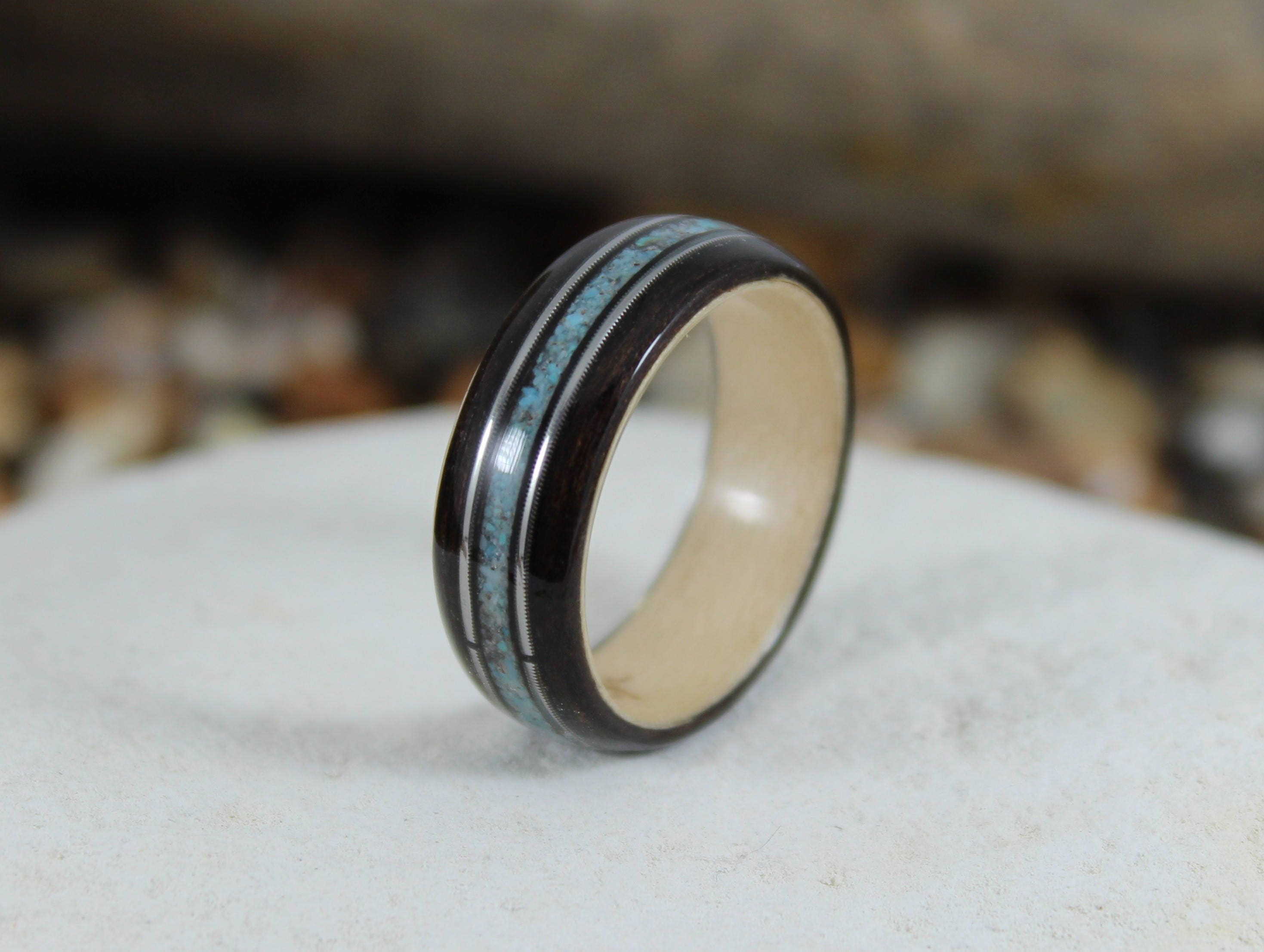 rings and eye wood copper tiger maple warren ring shop inlay with sq ebony