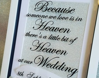Remembrance frame with feather & scatter crystals wedding frame - lost loved ones - wedding decor wedding sign table sign