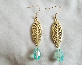 Gold Leaf Aqua Drop Earrings