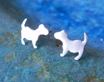 Tiny dog silhouette earring studs in sterling silver - teens jewelry gift for girl Christmas stocker pet lover Valentine gift