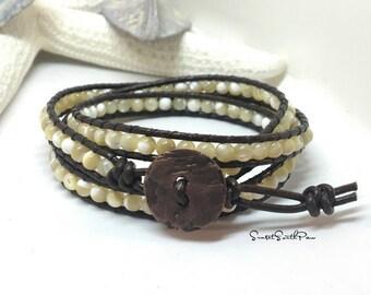 Mother of Pearl Triple Wrap Bracelet, Leather Gemstone Wrap, Boho Bracelet, Natural Wrap Bracelet, Beaded Wrap, Gemstone Jewelry