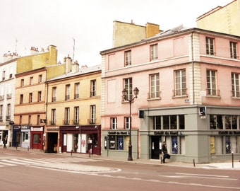 """France travel photography pastel pink mustard yellow gray windows french street architecture art """"Pink and Mustard Town"""""""