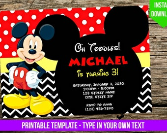 Mickey Mouse Invitation   DIY   You Print   Birthday Party Invite   Disney  Inspired Editable