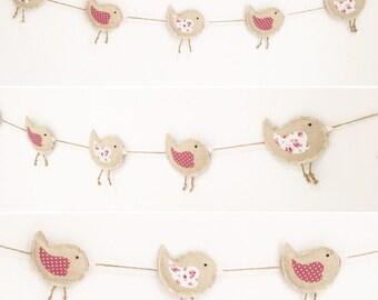 Nursery Garland - Fabric Bunting - Nursery Bunting - Baby Bunting - Bird Garland - Floral Bunting - Nursery Decor - Textile hanging
