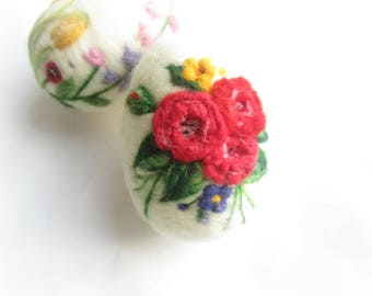 Easter Egg,Needle felted egg,Floral Egg,needle felted ornament,Easter