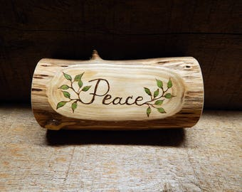 PEACE Rustic Organic Natural Cedar Branch Small Wooden Sign by Tanja Sova