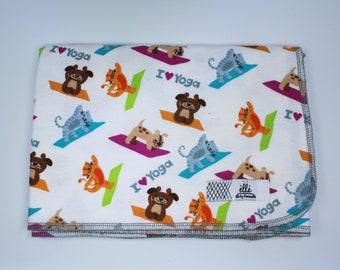 "Cat Dog Yoga Blanket - Extra Large Receiving Blanket - 36"" x 42"""