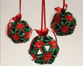 3 kusudama origami flowers. Christmas decorations 4,3 inch/ 11cm + ribbon