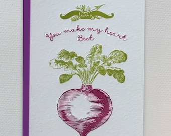 Luv you! You make my heart beet. - Letterpress card