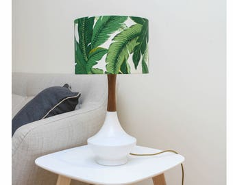 Midcentury Modern Hand Made Ceramic and Walnut Lamp with Tropical Shade