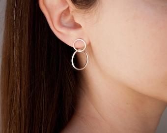 Double Hoop Earrings, Hoop Earrings, Silver Hoop Earring, Large Hoop Earrings, Circles Earrings, Minimalist Hoop Earrings, Dainty Hoops