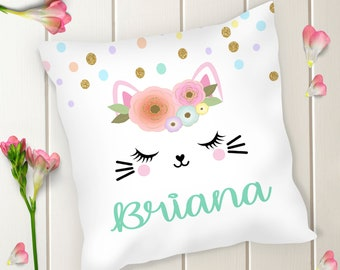 Personalized Cat Accent Square Pillow | Throw Pillow | Decorative Pillow | Nursery | Home Decor | Gift