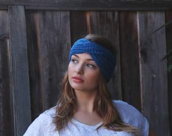 Blue Knit Headband. Knit Accessories. Blue Knit Turband. Winter Knit Turband. Winter Knitted Headband. Christmas Gift. Fall Accessories
